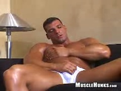 Oiled muscle man Tom jacking off dick. Posted by: Muscle Hunks