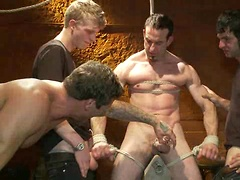 Muscular sub is treated like garbage at a dungeon party. Posted by: Bound in Public