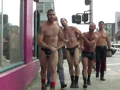 Muscle slave is stripped naked, used and humiliated while hordes of people take photos.. Posted by: Bound in Public