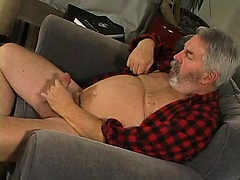 Fat old daddy Mitch Scott jerking off his cock. Posted by: Pantheon Bear