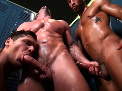 Locker Room Tryst. Four muscle guys fuck.. Posted by: Bath House Bait