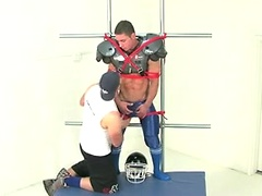 Marc Dylan gets all strapped up for some man to man action!. Posted by: Bound Jocks