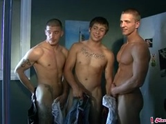A trio of cute frat guys in the bathroom for a photo shoot.. Posted by: Marcus Mojo