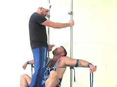 Aaron Cage gets all strapped up for some man to man action!. Posted by: Bound Jocks