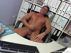 Stud watching porn at the office pleasure himself and cum. Posted by: Male Digital