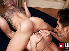 Dylan James and Michael Lucas spit-roast Jake Morgan. Posted by: Lucas Entetainment